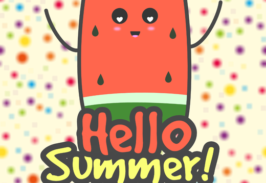 """Hello Summer"" ice cream wallpaper"