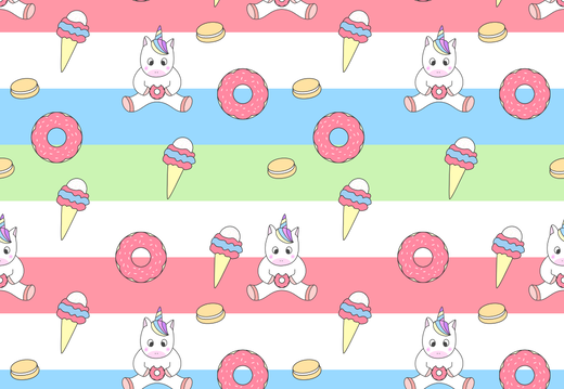 Unicorn and donuts pattern