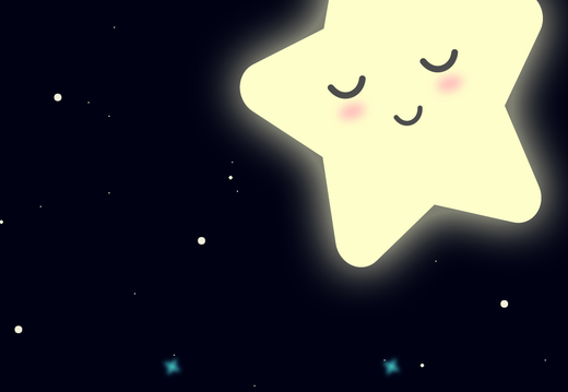 Cute star sleeping in the space wallpaper