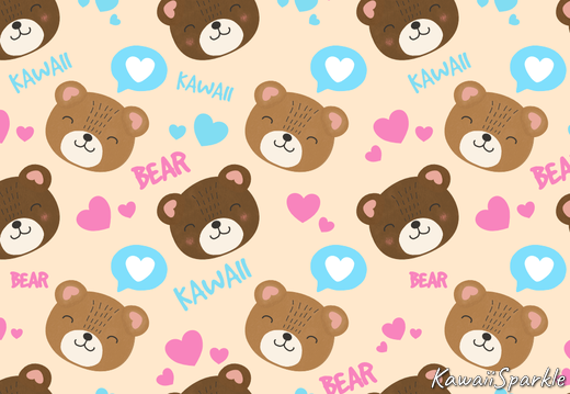 Kawaii Bear pattern with hearts