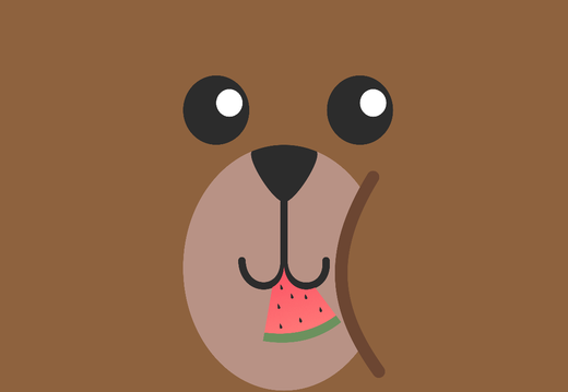 Bear eating watermelon wallpaper