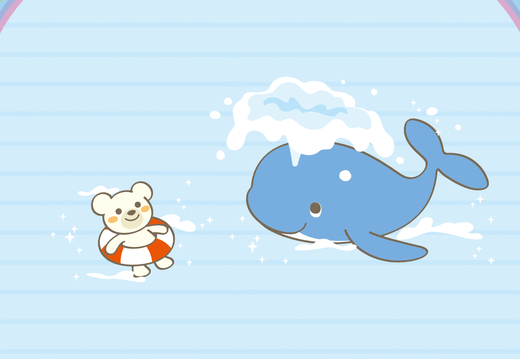 Bear and whale under the rainbow wallpaper