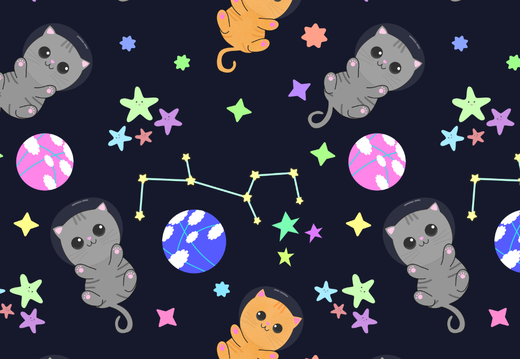 Kittens in the space wallpaper