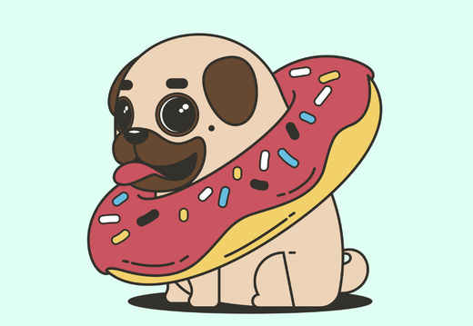Pug and donut wallpaper