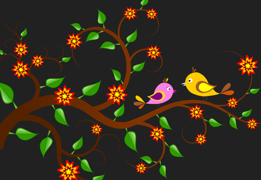 Birds on the branch wallpaper