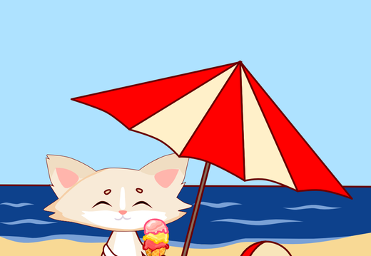Cat with the ice cream on the beach